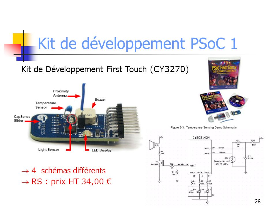 Kit de développement PSoC 1 PSoCEval USB with CapSensePLUS Digilent : prix $87.95 academic 29