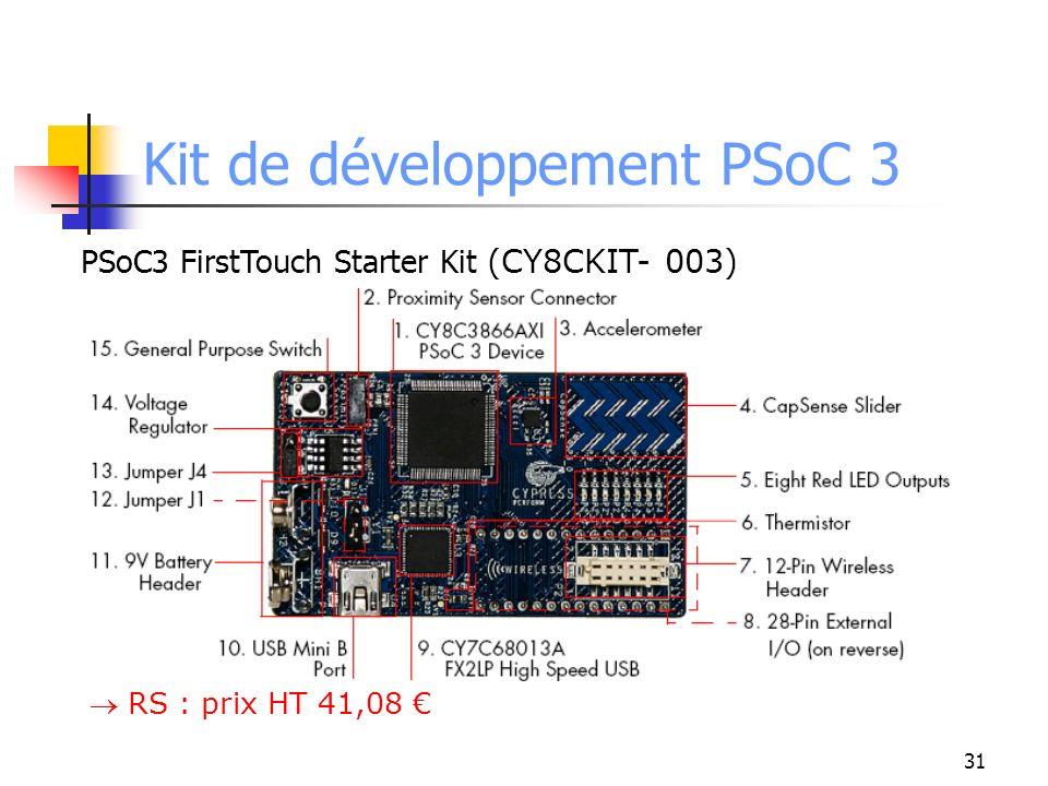 Kit de développement PSoC 3 PSoC3 FirstTouch Starter Kit (CY8CKIT- 003) RS : prix HT 41,08 31