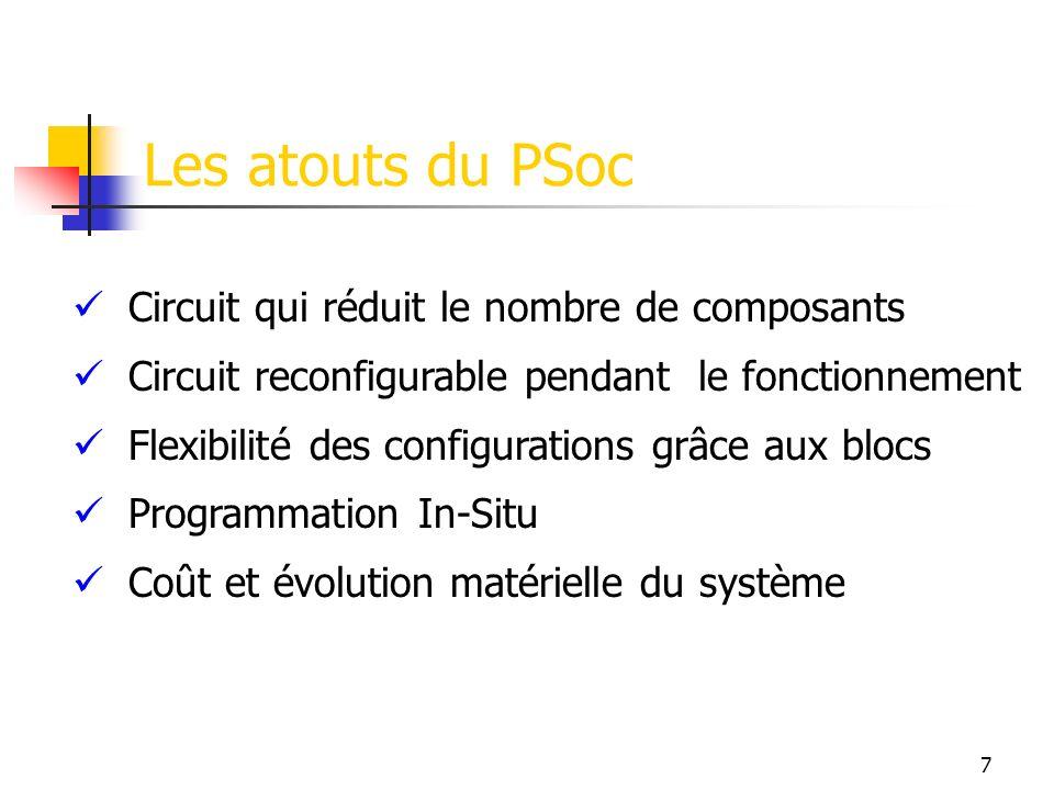 Les atouts du PSoc Circuit qui réduit le nombre de composants Circuit reconfigurable pendant le fonctionnement Flexibilité des configurations grâce aux blocs Programmation In-Situ Coût et évolution matérielle du système 7