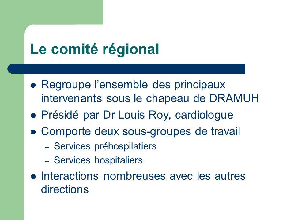 Le comité régional Regroupe lensemble des principaux intervenants sous le chapeau de DRAMUH Présidé par Dr Louis Roy, cardiologue Comporte deux sous-g