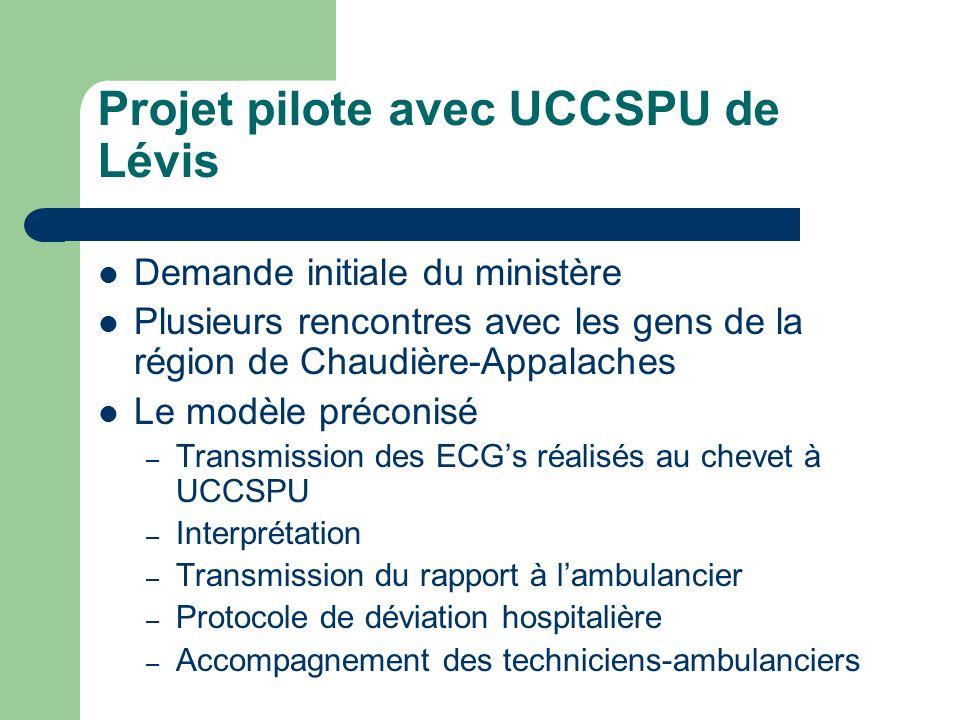 Projet pilote avec UCCSPU de Lévis Demande initiale du ministère Plusieurs rencontres avec les gens de la région de Chaudière-Appalaches Le modèle pré