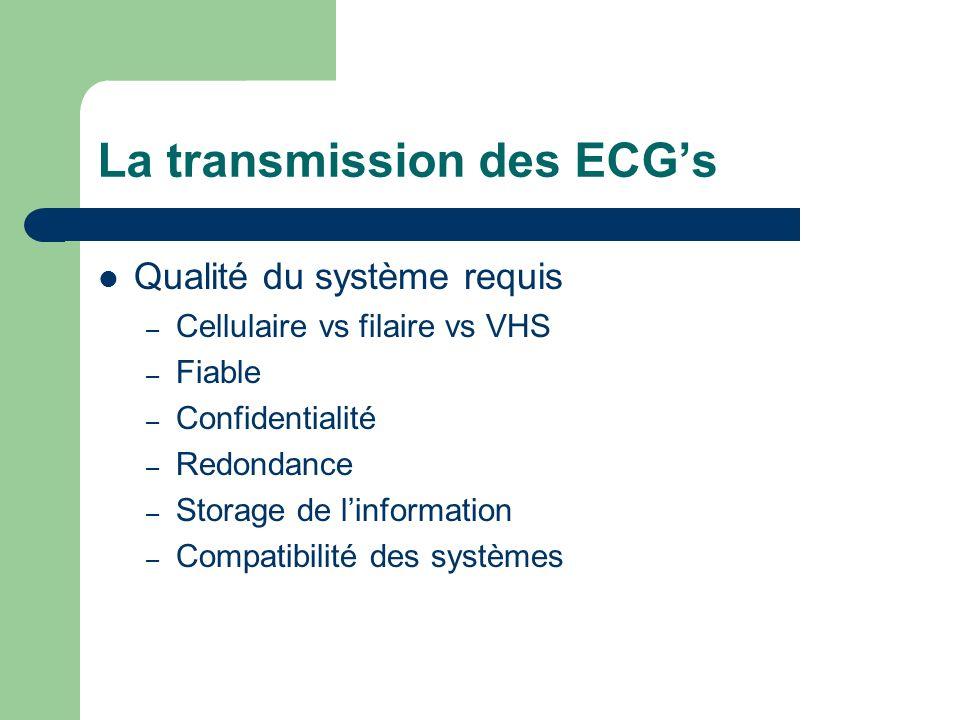 La transmission des ECGs Qualité du système requis – Cellulaire vs filaire vs VHS – Fiable – Confidentialité – Redondance – Storage de linformation – Compatibilité des systèmes