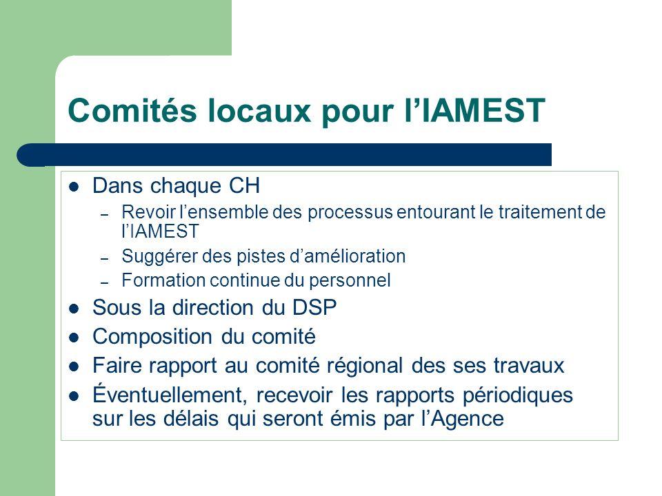 Comités locaux pour lIAMEST Dans chaque CH – Revoir lensemble des processus entourant le traitement de lIAMEST – Suggérer des pistes damélioration – F