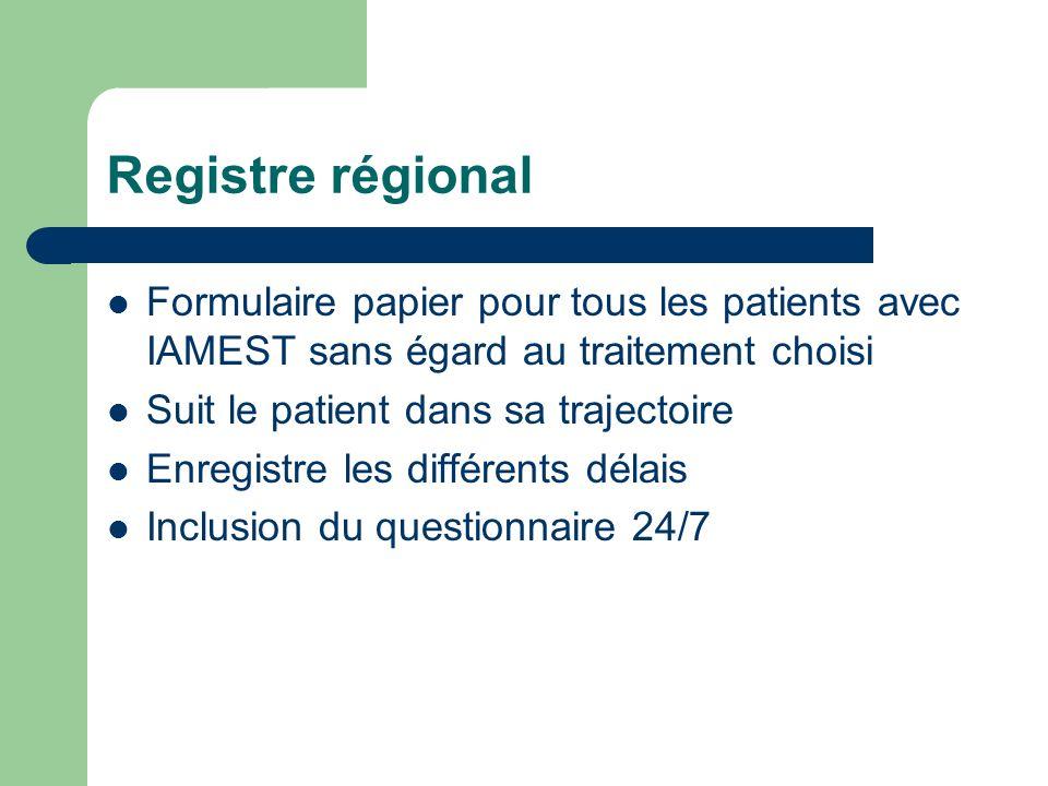 Registre régional Formulaire papier pour tous les patients avec IAMEST sans égard au traitement choisi Suit le patient dans sa trajectoire Enregistre les différents délais Inclusion du questionnaire 24/7