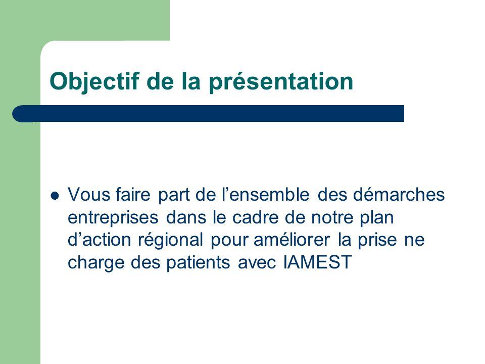 Objectif de la présentation Vous faire part de lensemble des démarches entreprises dans le cadre de notre plan daction régional pour améliorer la prise ne charge des patients avec IAMEST