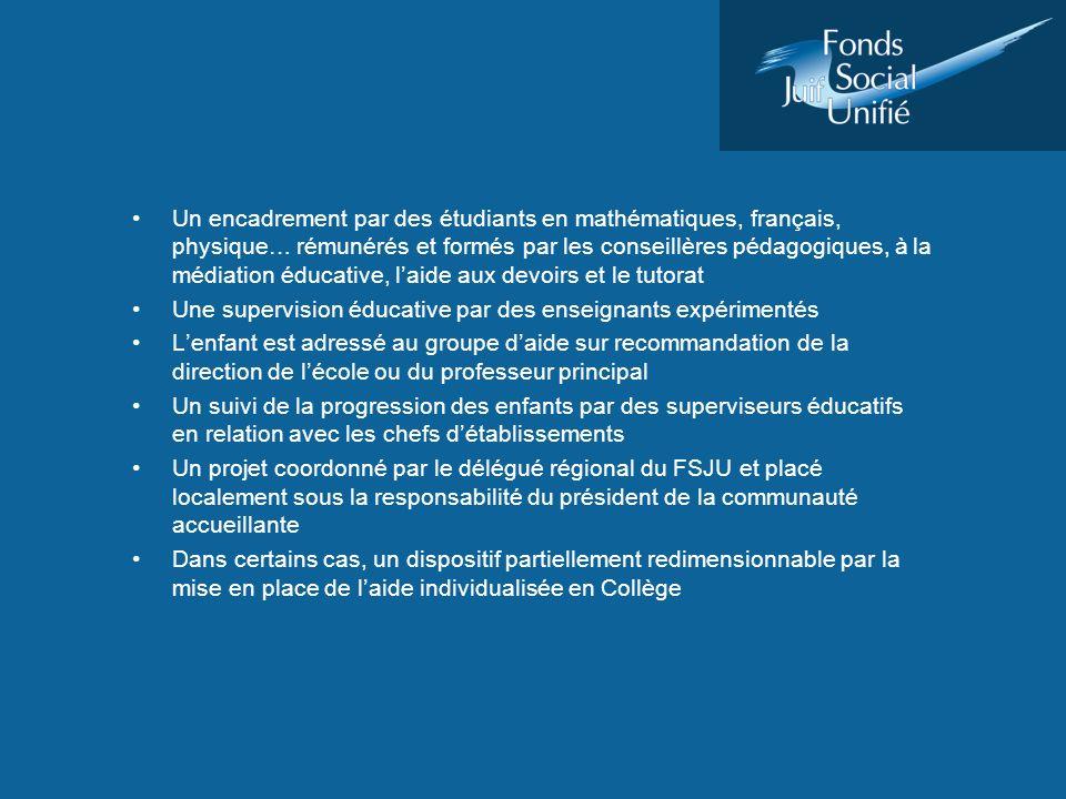 Un encadrement par des étudiants en mathématiques, français, physique… rémunérés et formés par les conseillères pédagogiques, à la médiation éducative