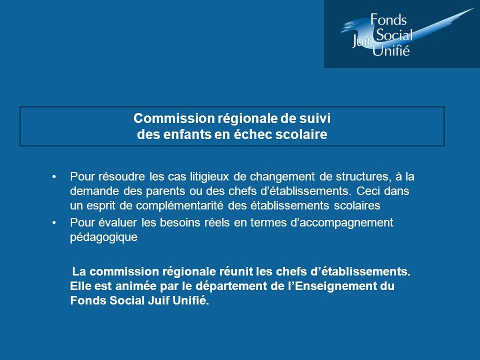 Commission régionale de suivi des enfants en échec scolaire Pour résoudre les cas litigieux de changement de structures, à la demande des parents ou d