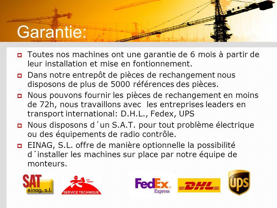 Garantie: Toutes nos machines ont une garantie de 6 mois à partir de leur installation et mise en fontionnement. Dans notre entrepôt de pièces de rech