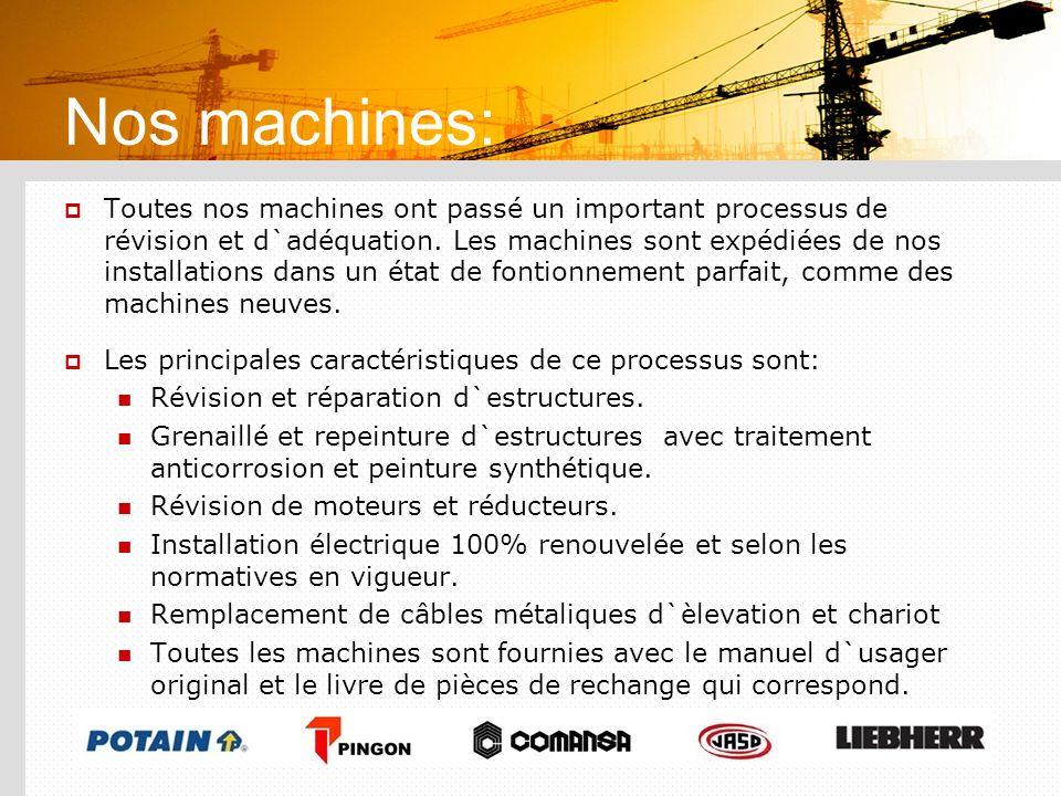 Nos machines: Toutes nos machines ont passé un important processus de révision et d`adéquation. Les machines sont expédiées de nos installations dans