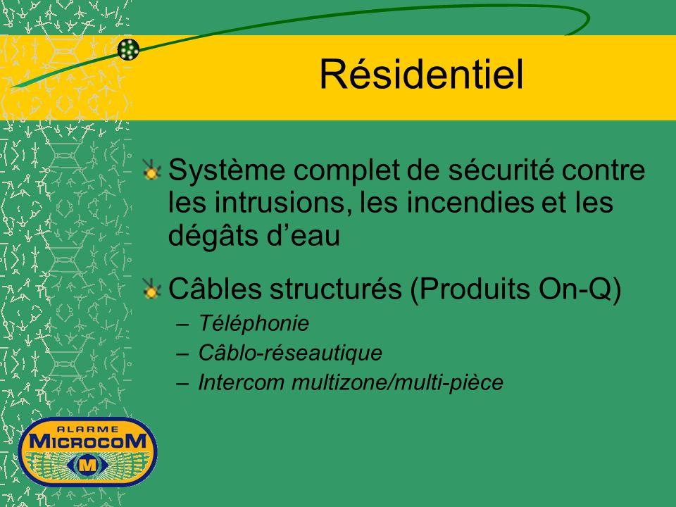 Résidentiel Système complet de sécurité contre les intrusions, les incendies et les dégâts deau Câbles structurés (Produits On-Q) –Téléphonie –Câblo-réseautique –Intercom multizone/multi-pièce