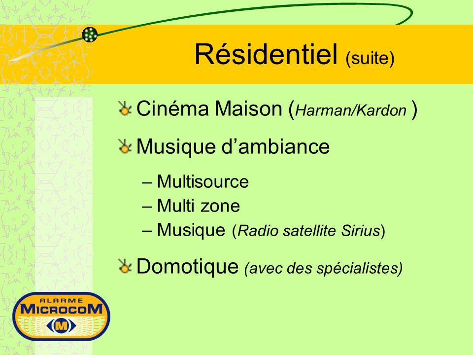 Résidentiel (suite) Cinéma Maison ( Harman/Kardon ) Musique dambiance –Multisource –Multi zone –Musique (Radio satellite Sirius) Domotique (avec des spécialistes)