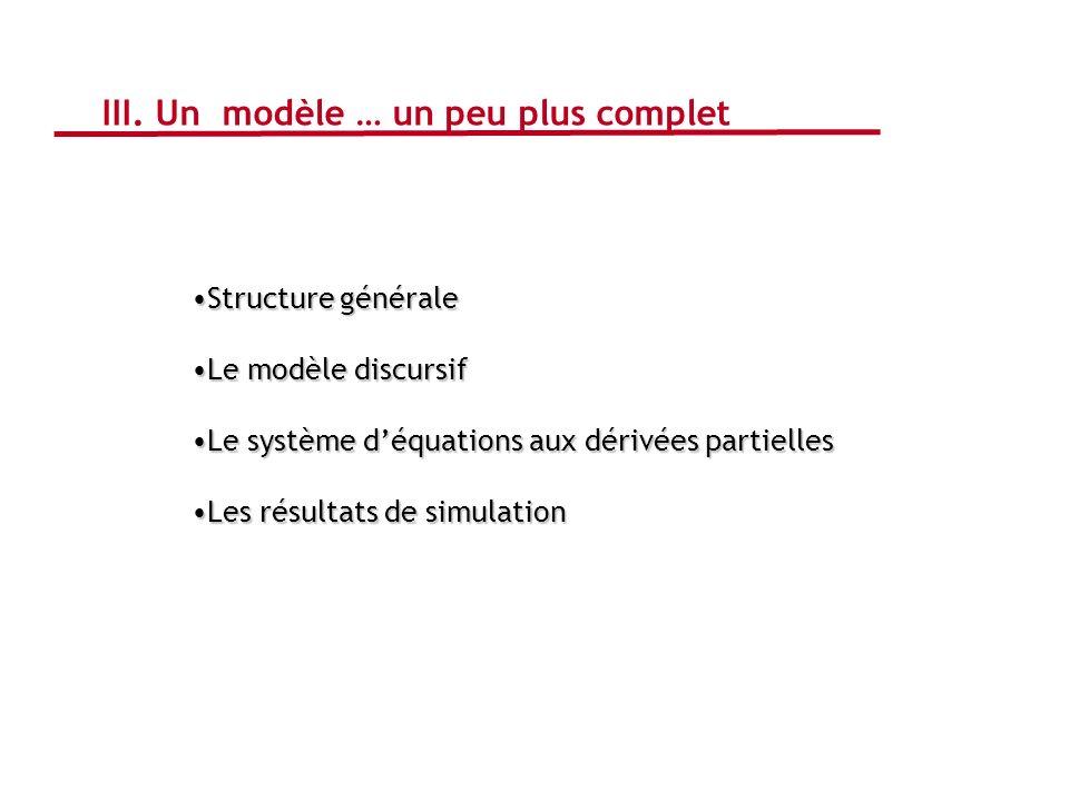 III. Un modèle … un peu plus complet Structure généraleStructure générale Le modèle discursifLe modèle discursif Le système déquations aux dérivées pa