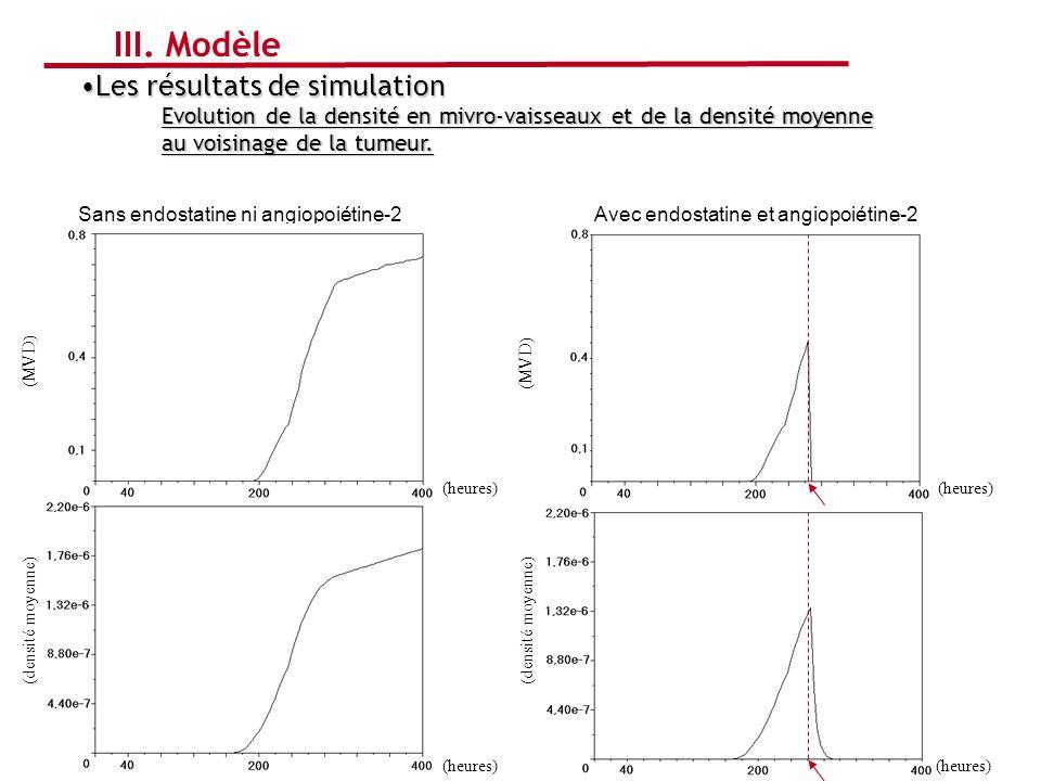 Avec endostatine et angiopoiétine-2Sans endostatine ni angiopoiétine-2 Les résultats de simulationLes résultats de simulation Evolution de la densité