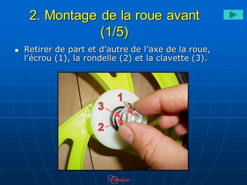 2. Montage de la roue avant (1/5) Retirer de part et dautre de laxe de la roue, lécrou (1), la rondelle (2) et la clavette (3). Retirer de part et dau