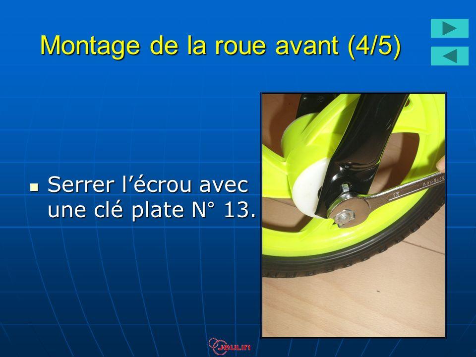 Montage de la roue avant (4/5) Serrer lécrou avec une clé plate N° 13. Serrer lécrou avec une clé plate N° 13.