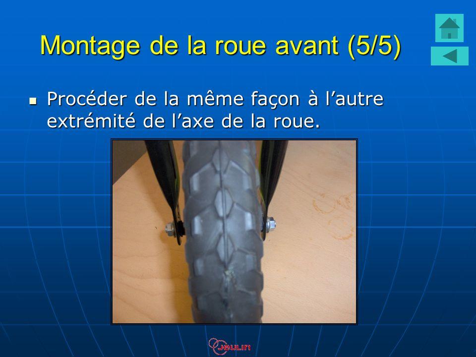 Montage de la roue avant (5/5) Procéder de la même façon à lautre extrémité de laxe de la roue. Procéder de la même façon à lautre extrémité de laxe d