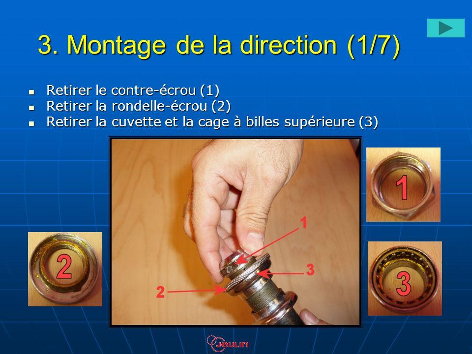 3. Montage de la direction (1/7) Retirer le contre-écrou (1) Retirer le contre-écrou (1) Retirer la rondelle-écrou (2) Retirer la rondelle-écrou (2) R