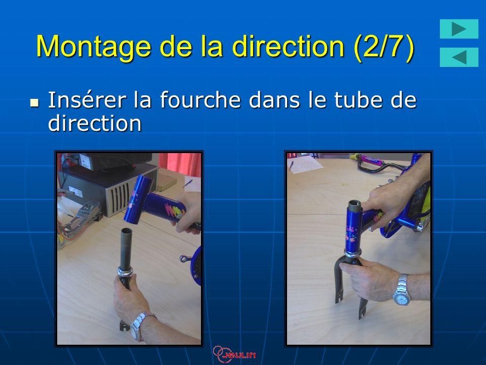 Montage de la direction (2/7) Insérer la fourche dans le tube de direction Insérer la fourche dans le tube de direction