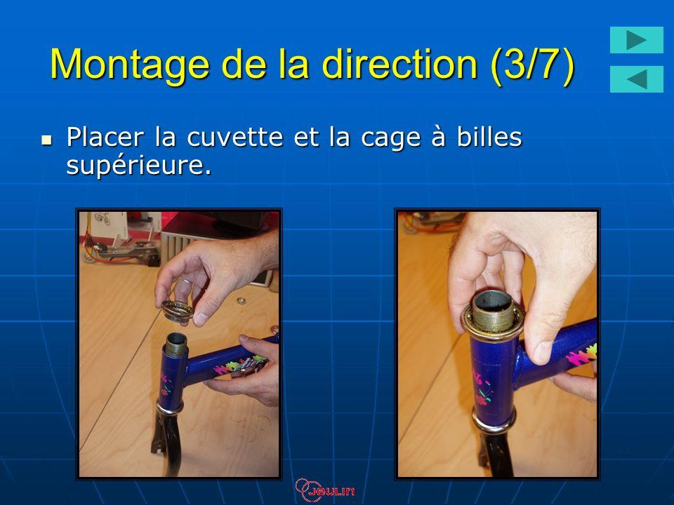 Montage de la direction (3/7) Placer la cuvette et la cage à billes supérieure. Placer la cuvette et la cage à billes supérieure.