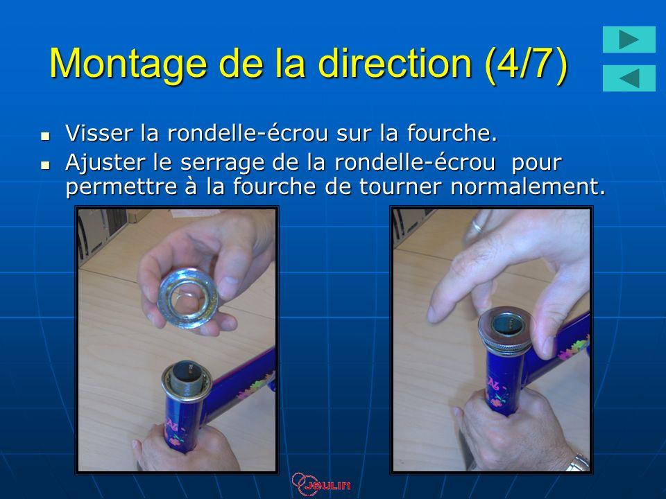 Montage de la direction (4/7) Visser la rondelle-écrou sur la fourche. Visser la rondelle-écrou sur la fourche. Ajuster le serrage de la rondelle-écro