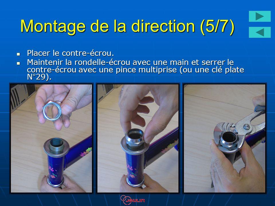 Montage de la direction (5/7) Placer le contre-écrou. Placer le contre-écrou. Maintenir la rondelle-écrou avec une main et serrer le contre-écrou avec