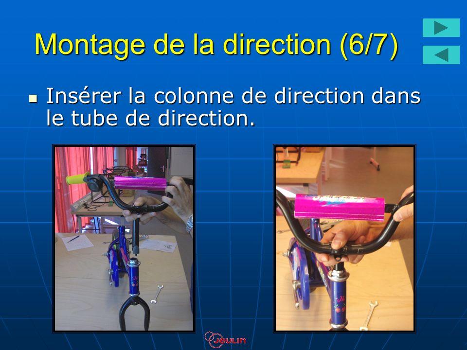 Montage de la direction (6/7) Insérer la colonne de direction dans le tube de direction. Insérer la colonne de direction dans le tube de direction.