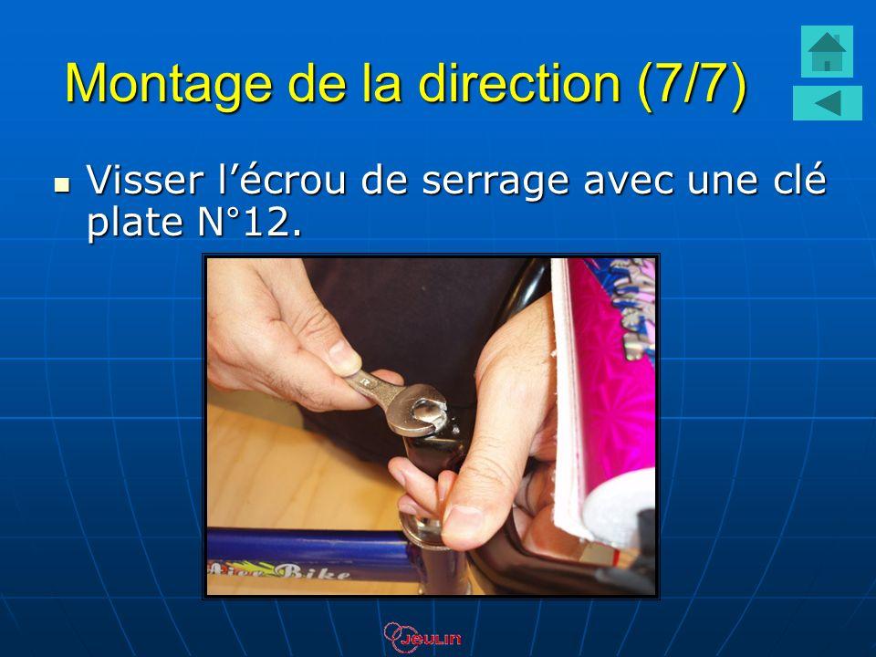 Montage de la direction (7/7) Visser lécrou de serrage avec une clé plate N°12. Visser lécrou de serrage avec une clé plate N°12.