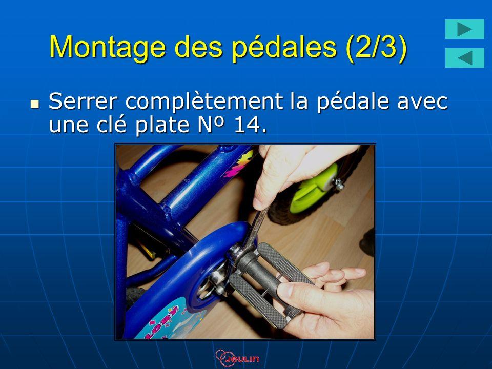 Montage des pédales (2/3) Serrer complètement la pédale avec une clé plate Nº 14. Serrer complètement la pédale avec une clé plate Nº 14.