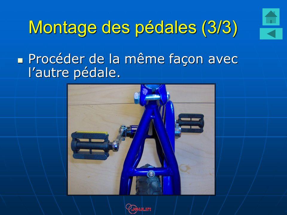 Montage des pédales (3/3) Procéder de la même façon avec lautre pédale. Procéder de la même façon avec lautre pédale.