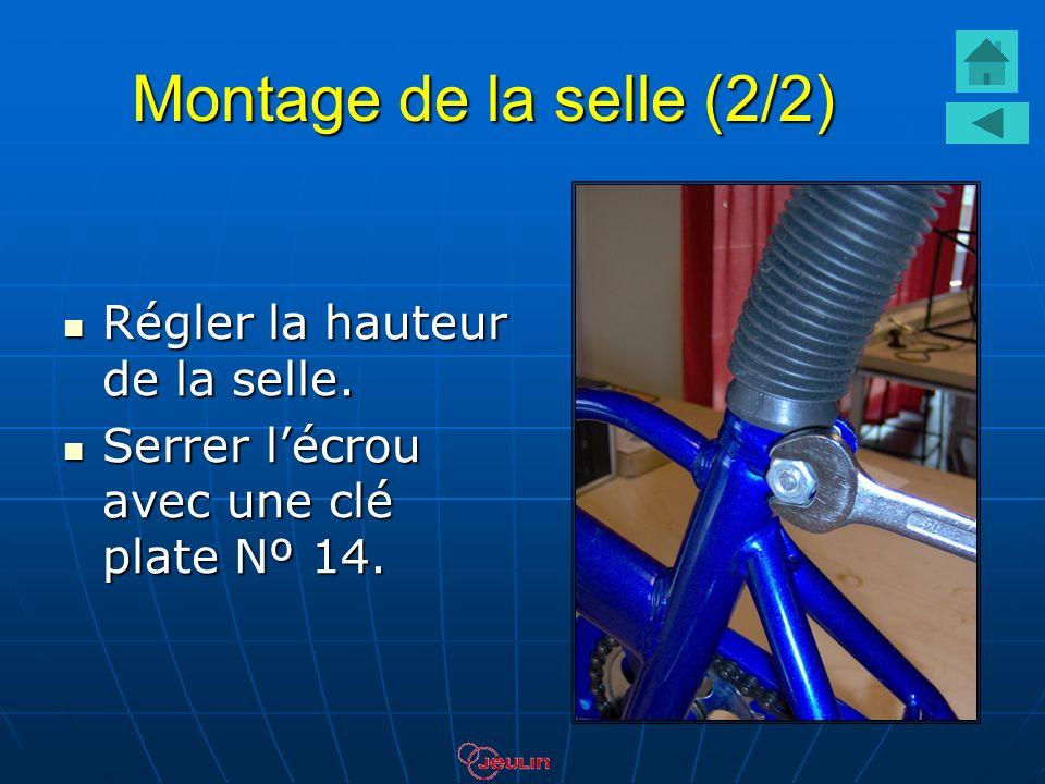 Montage de la selle (2/2) Régler la hauteur de la selle. Régler la hauteur de la selle. Serrer lécrou avec une clé plate Nº 14. Serrer lécrou avec une