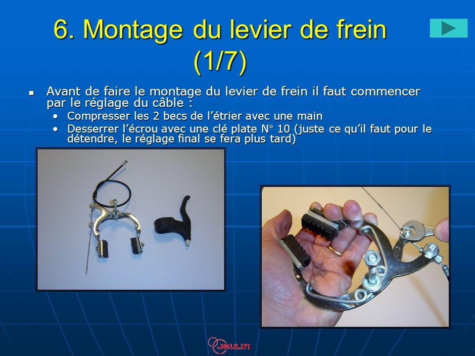 6. Montage du levier de frein (1/7) Avant de faire le montage du levier de frein il faut commencer par le réglage du câble : Avant de faire le montage