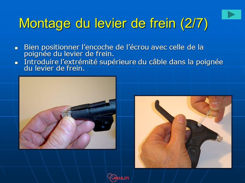 Montage du levier de frein (2/7) Bien positionner lencoche de lécrou avec celle de la poignée du levier de frein. Bien positionner lencoche de lécrou