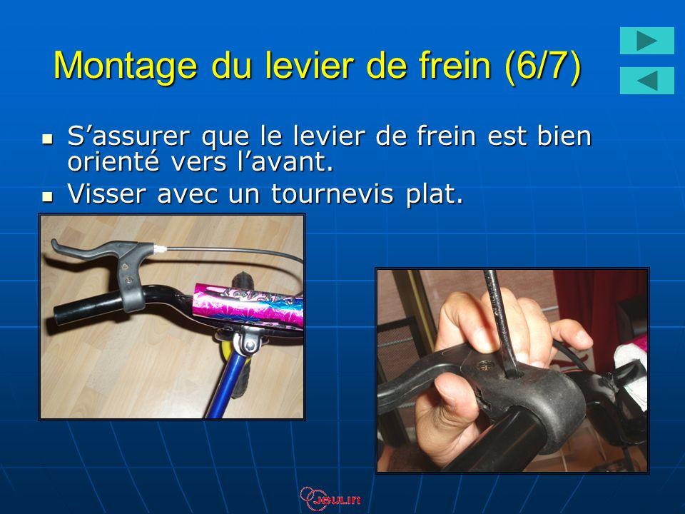 Montage du levier de frein (6/7) Sassurer que le levier de frein est bien orienté vers lavant. Sassurer que le levier de frein est bien orienté vers l