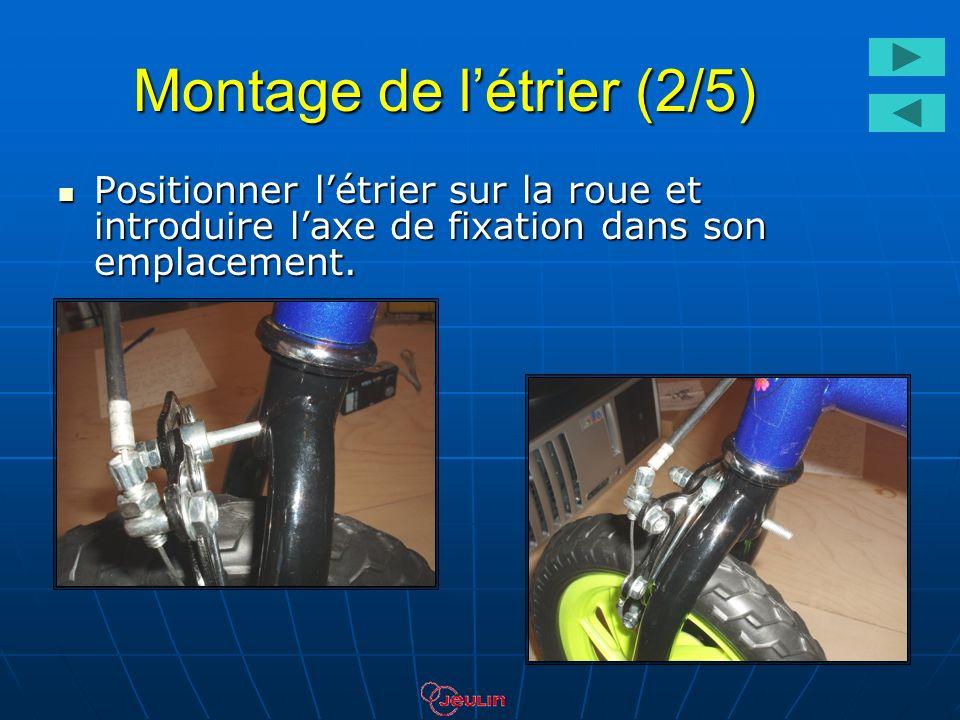 Montage de létrier (2/5) Positionner létrier sur la roue et introduire laxe de fixation dans son emplacement. Positionner létrier sur la roue et intro