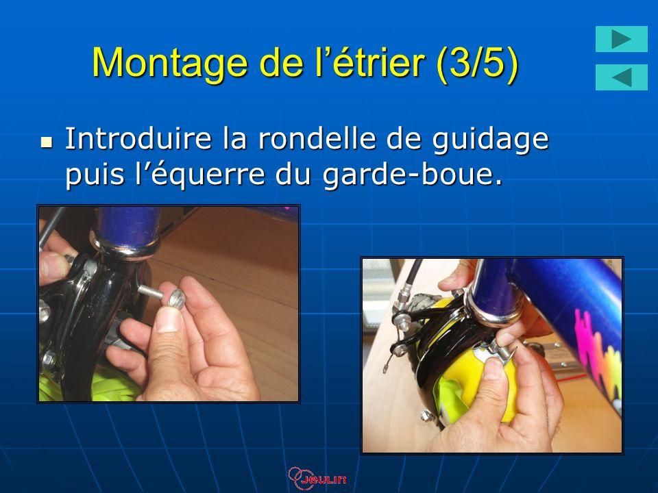 Montage de létrier (3/5) Introduire la rondelle de guidage puis léquerre du garde-boue. Introduire la rondelle de guidage puis léquerre du garde-boue.