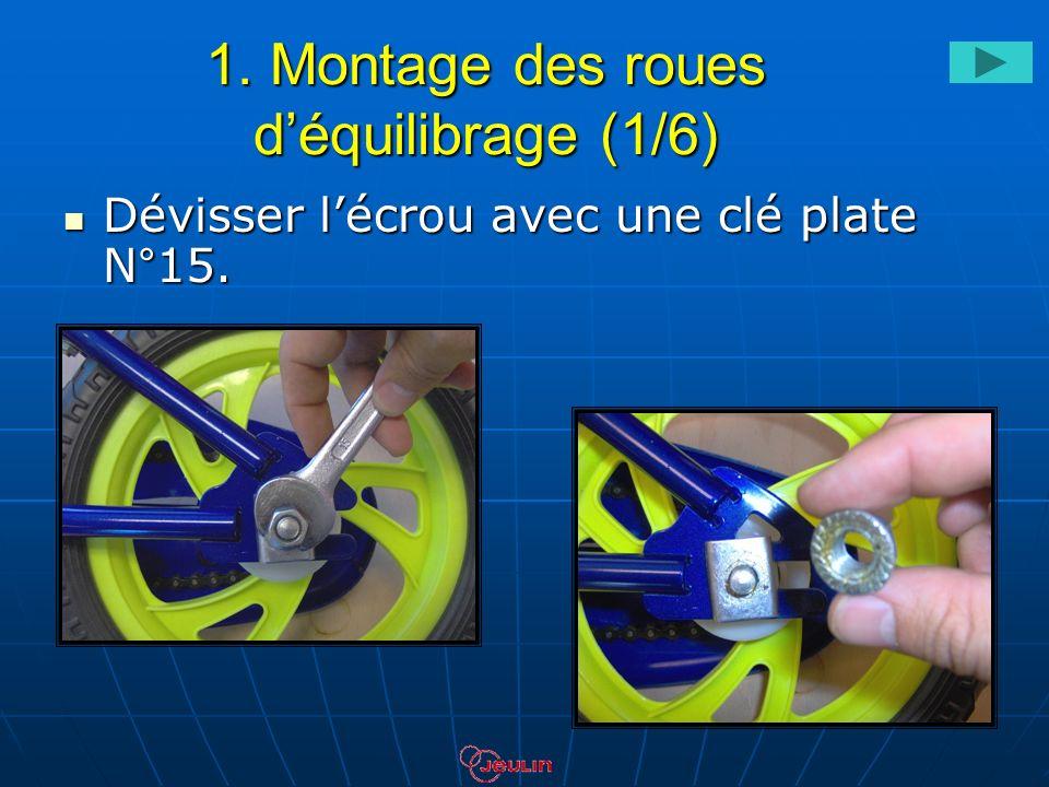 1. Montage des roues déquilibrage (1/6) Dévisser lécrou avec une clé plate N°15. Dévisser lécrou avec une clé plate N°15.