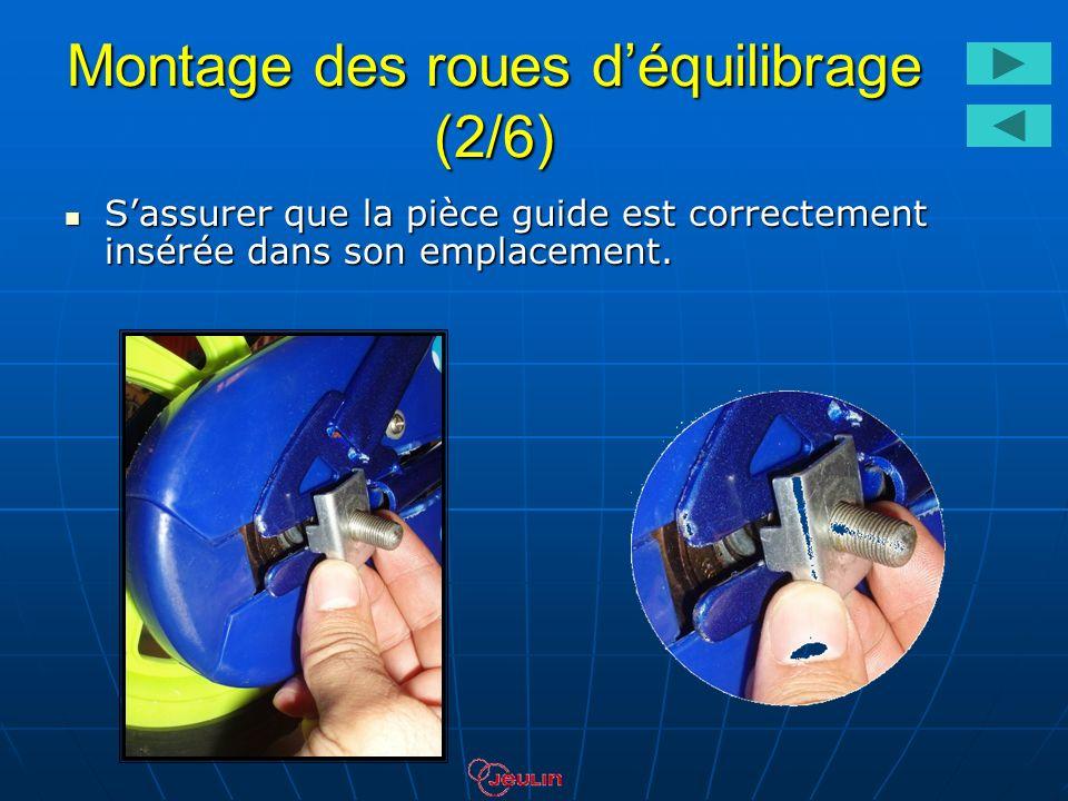 Montage des roues déquilibrage (3/6) Introduire le support métallique dans laxe de la roue.