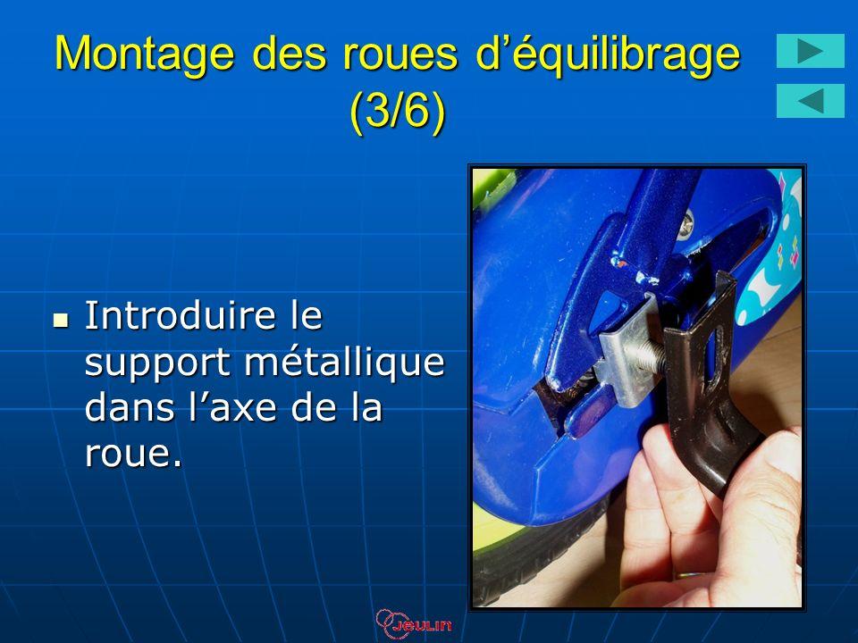 Montage des roues déquilibrage (3/6) Introduire le support métallique dans laxe de la roue. Introduire le support métallique dans laxe de la roue.