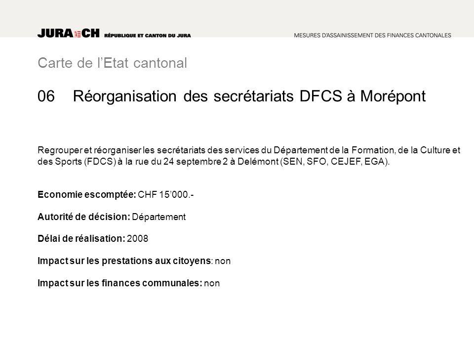 Carte de lEtat cantonal Réorganisation des secrétariats DFCS à Morépont Regrouper et réorganiser les secrétariats des services du Département de la Formation, de la Culture et des Sports (FDCS) à la rue du 24 septembre 2 à Delémont (SEN, SFO, CEJEF, EGA).