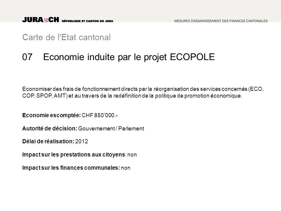 Carte de l Etat cantonal Economie induite par le projet ECOPOLE Economiser des frais de fonctionnement directs par la réorganisation des services concernés (ECO, COP, SPOP, AMT) et au travers de la redéfinition de la politique de promotion économique.