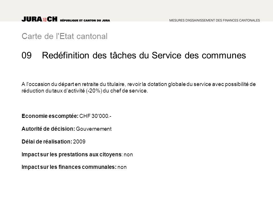 Carte de l'Etat cantonal Redéfinition des tâches du Service des communes A l'occasion du départ en retraite du titulaire, revoir la dotation globale d