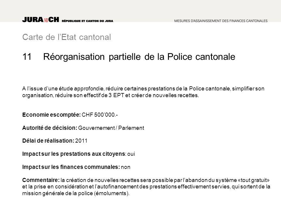 Carte de lEtat cantonal Réorganisation partielle de la Police cantonale A lissue dune étude approfondie, réduire certaines prestations de la Police cantonale, simplifier son organisation, réduire son effectif de 3 EPT et créer de nouvelles recettes.