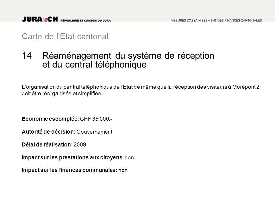 Carte de l Etat cantonal Réaménagement du système de réception et du central téléphonique L organisation du central téléphonique de l Etat de même que la réception des visiteurs à Morépont 2 doit être réorganisée et simplifiée.
