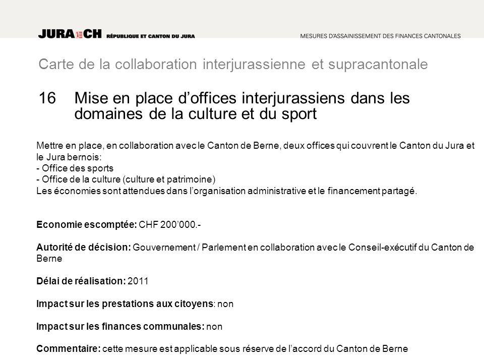 Carte de la collaboration interjurassienne et supracantonale Mise en place doffices interjurassiens dans les domaines de la culture et du sport Mettre