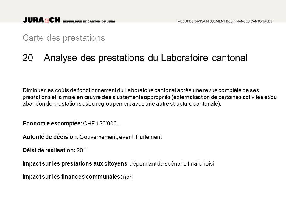 Carte des prestations Analyse des prestations du Laboratoire cantonal Diminuer les coûts de fonctionnement du Laboratoire cantonal après une revue com