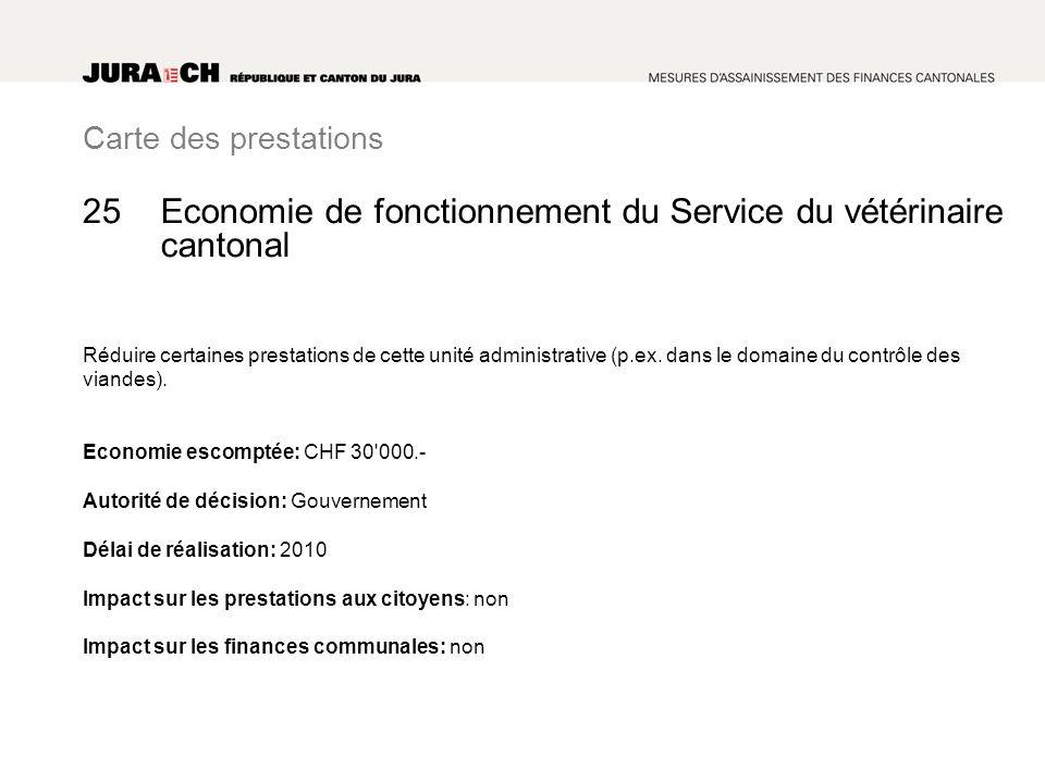 Carte des prestations Economie de fonctionnement du Service du vétérinaire cantonal Réduire certaines prestations de cette unité administrative (p.ex.