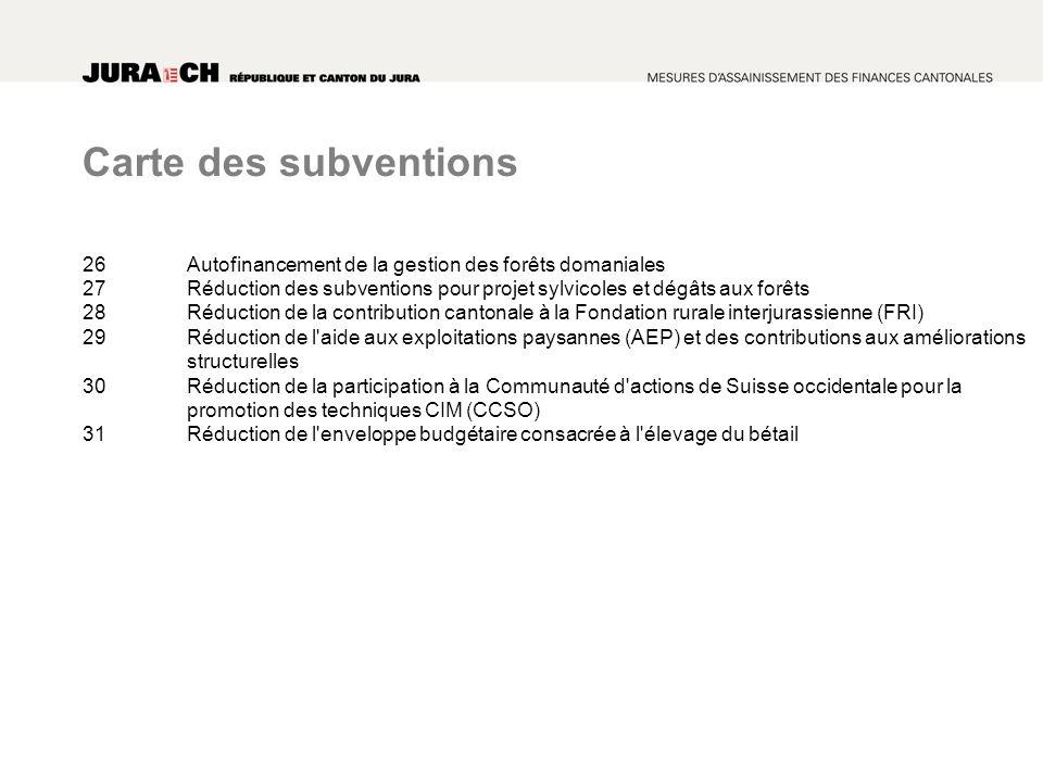 Carte des subventions 26Autofinancement de la gestion des forêts domaniales 27Réduction des subventions pour projet sylvicoles et dégâts aux forêts 28Réduction de la contribution cantonale à la Fondation rurale interjurassienne (FRI) 29Réduction de l aide aux exploitations paysannes (AEP) et des contributions aux améliorations structurelles 30Réduction de la participation à la Communauté d actions de Suisse occidentale pour la promotion des techniques CIM (CCSO) 31 Réduction de l enveloppe budgétaire consacrée à l élevage du bétail