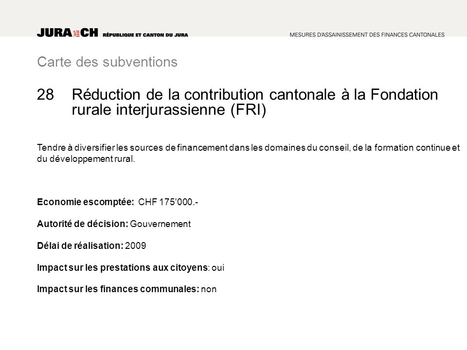Carte des subventions Réduction de la contribution cantonale à la Fondation rurale interjurassienne (FRI) Tendre à diversifier les sources de financement dans les domaines du conseil, de la formation continue et du développement rural.