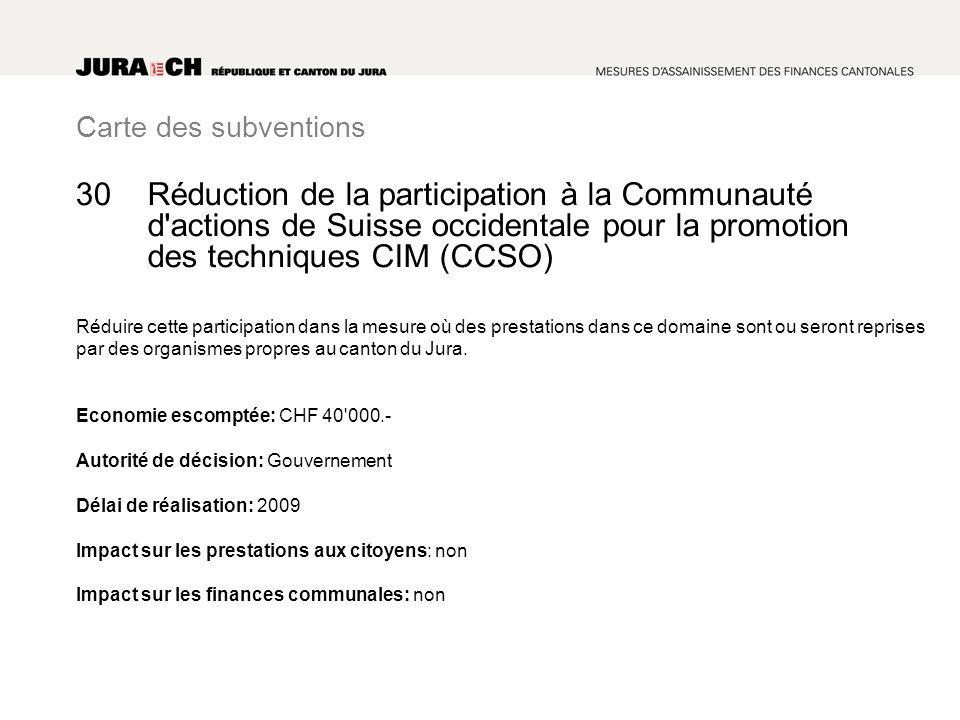 Carte des subventions Réduction de la participation à la Communauté d actions de Suisse occidentale pour la promotion des techniques CIM (CCSO) Réduire cette participation dans la mesure où des prestations dans ce domaine sont ou seront reprises par des organismes propres au canton du Jura.