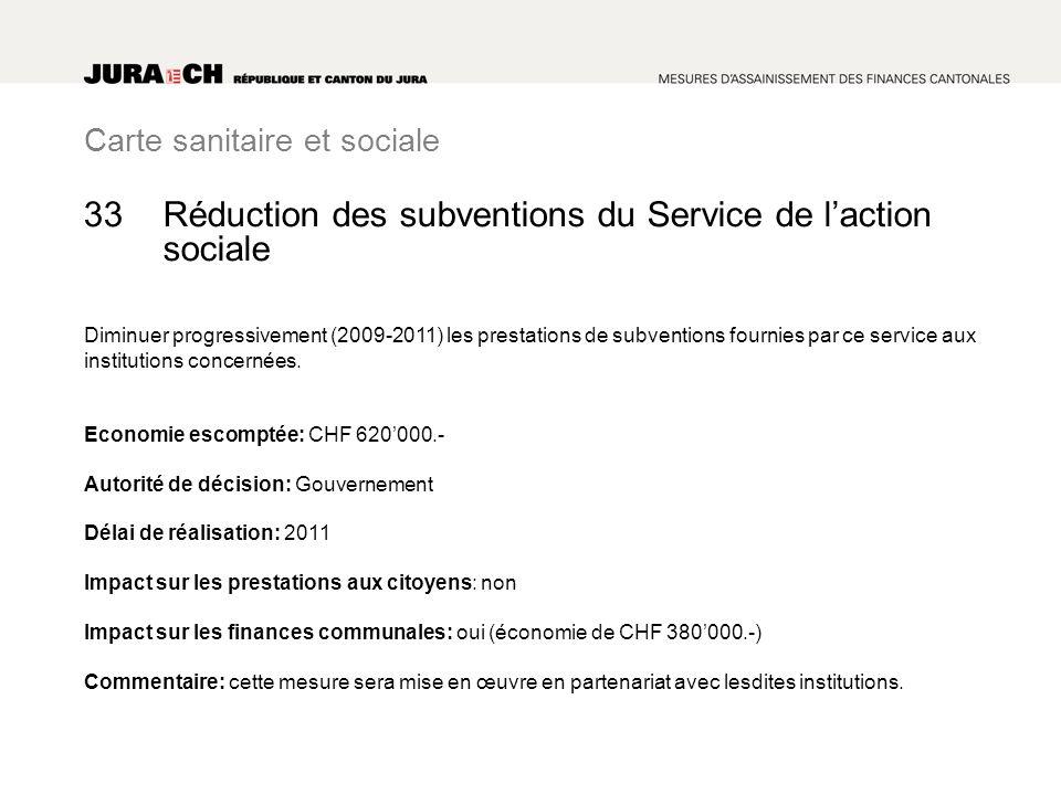 Carte sanitaire et sociale Réduction des subventions du Service de laction sociale Diminuer progressivement (2009-2011) les prestations de subventions fournies par ce service aux institutions concernées.